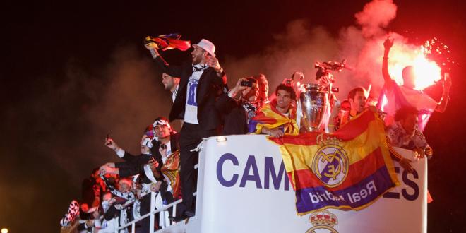 Bajnokok Ligája győzelem ünneplése a Cibeles-téren